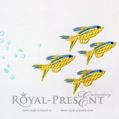 Дизайн машинной вышивки Желтые морские рыбки - 2 размера