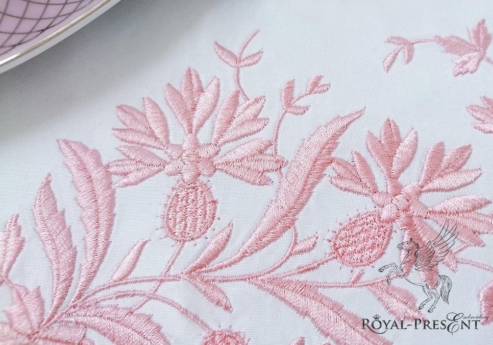 Дизайн машинной вышивки Винтажный декор с васильками - 2 размера
