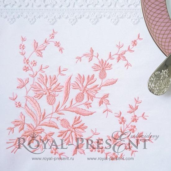 Дизайн машинной вышивки Элегантный угловой декор с васильками - 2 размера RPE-1020-1
