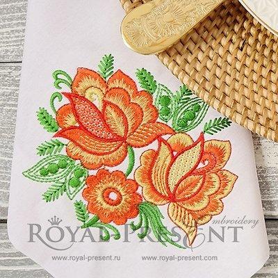 Дизайн для машинной вышивки Три экзотических цветка