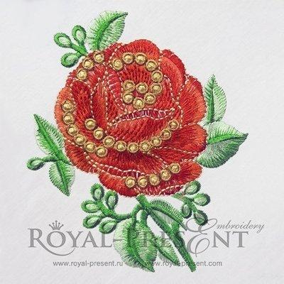 Дизайн машинной вышивки Прекрасная роза