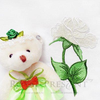 Дизайн машинной вышивки Желтая садовая роза