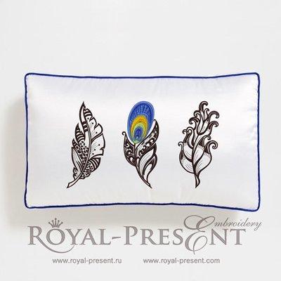 Набор дизайнов машинной вышивки Перья павлина - 3 размера