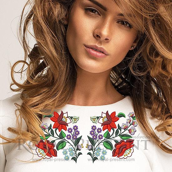 Дизайн машинной вышивки Трансильванский цветочный узор - 2 размера