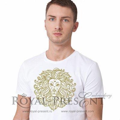Дизайн машинной вышивки Золотой Лев - 2 размера