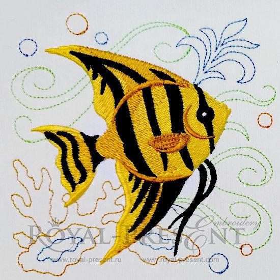 Дизайн для машинной вышивки бесплатно Морская рыбка RPE-479