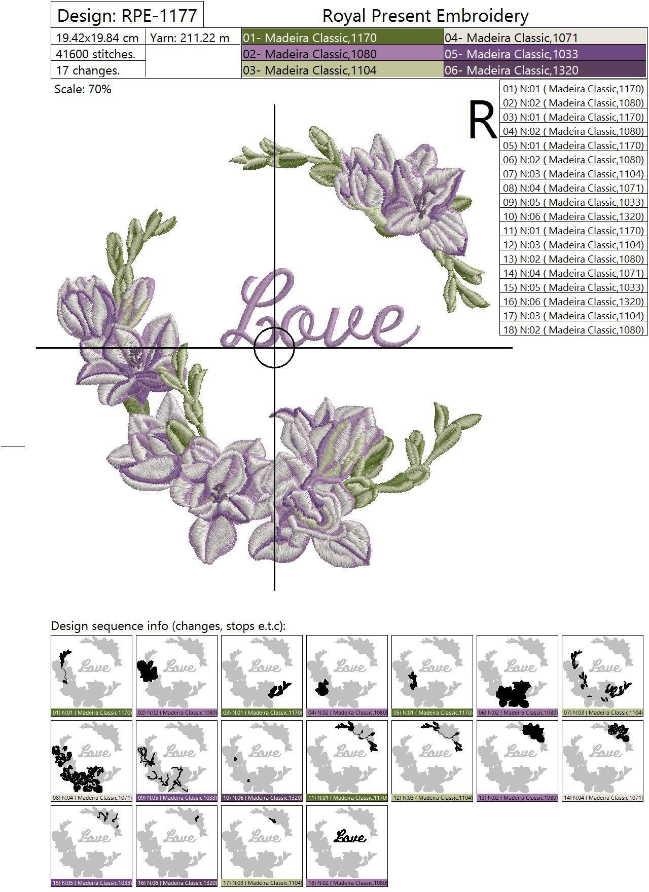 Дизайн машинной вышивки Фрезии - 4 в 1