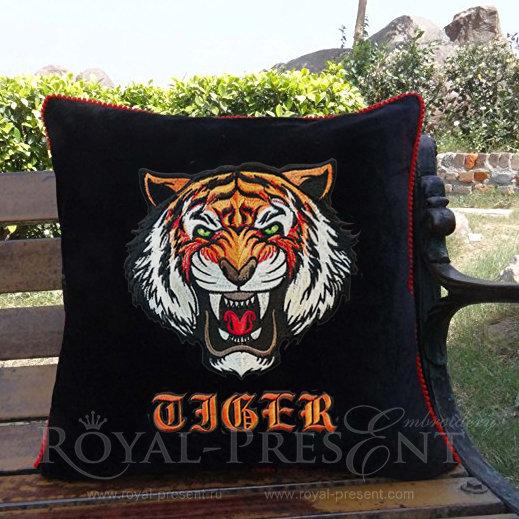 Дизайн машинной вышивки Свирепый Тигр  - 4 размера RPE-1180