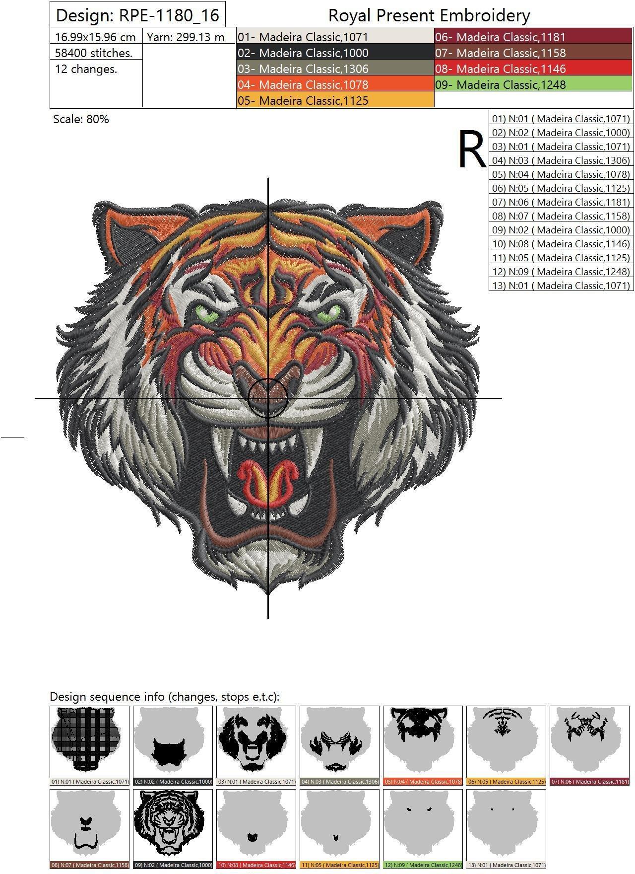 Дизайн машинной вышивки Свирепый Тигр  - 4 размера