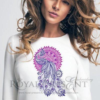 Дизайн машинной вышивки Павлин и Мандала с кристаллами - 4 размера