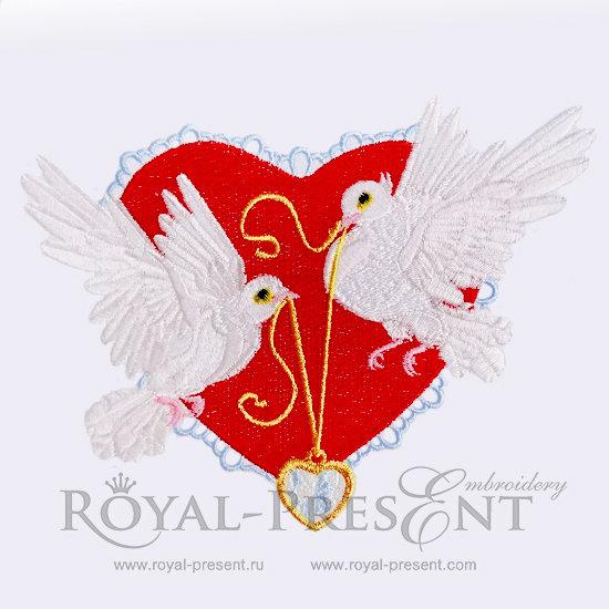 Дизайн машинной вышивки Влюбленные голубки