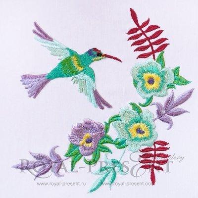 Угловой дизайн машинной вышивки Колибри и цветы - 2 размера