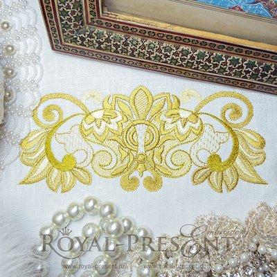Дизайн машинной вышивки Роскошный золотой - 3 размера