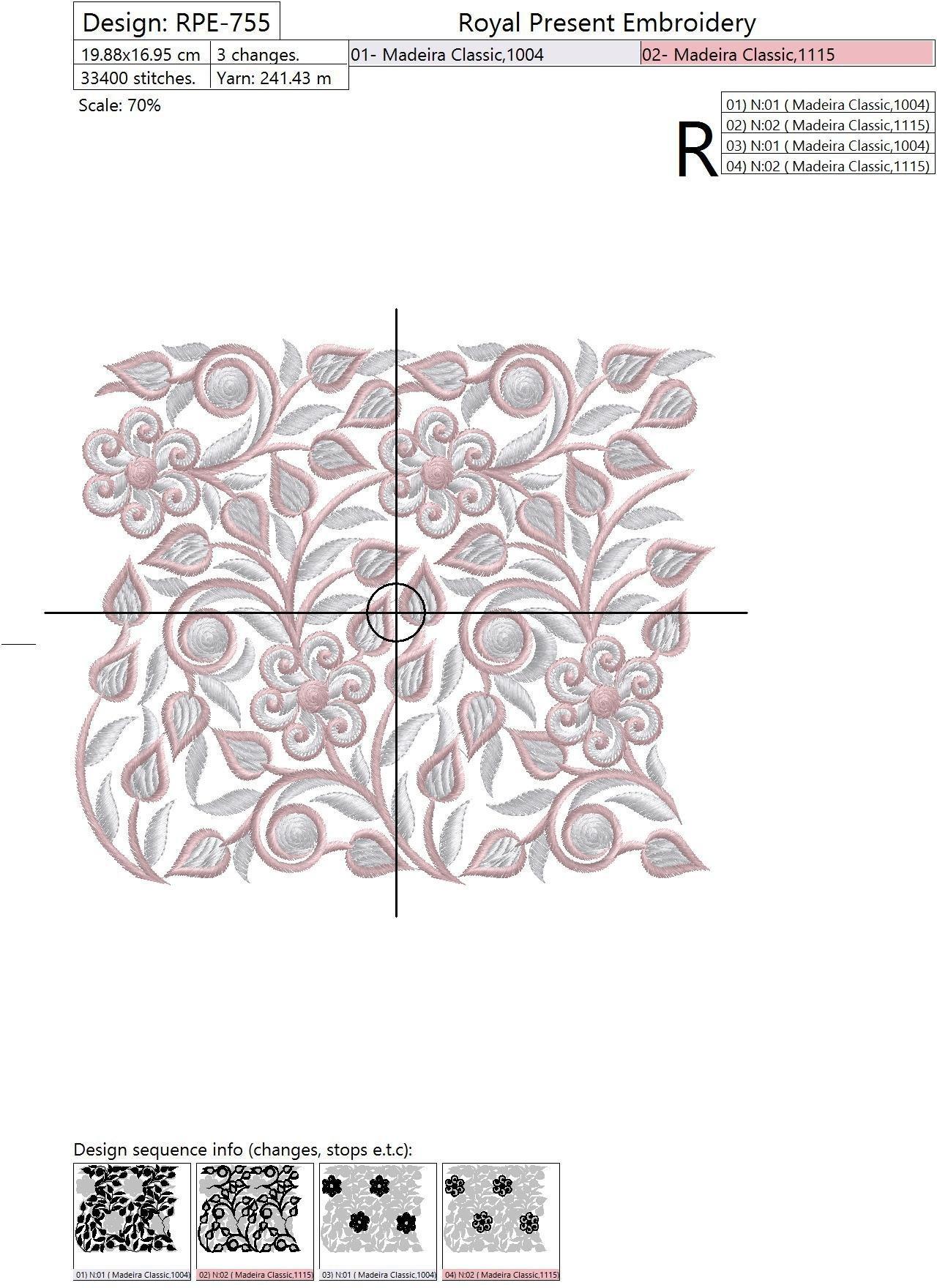Дизайн машинной вышивки Бесконечный бордюр