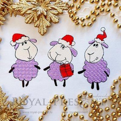 Дизайн машинной вышивки Новогодние овечки