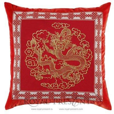 Дизайн машинной вышивки Золотой Китайский Дракон - 2 размера