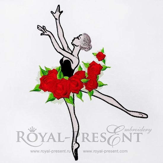 Дизайн машинной вышивки Балерина с розами - 3 размера RPE-302