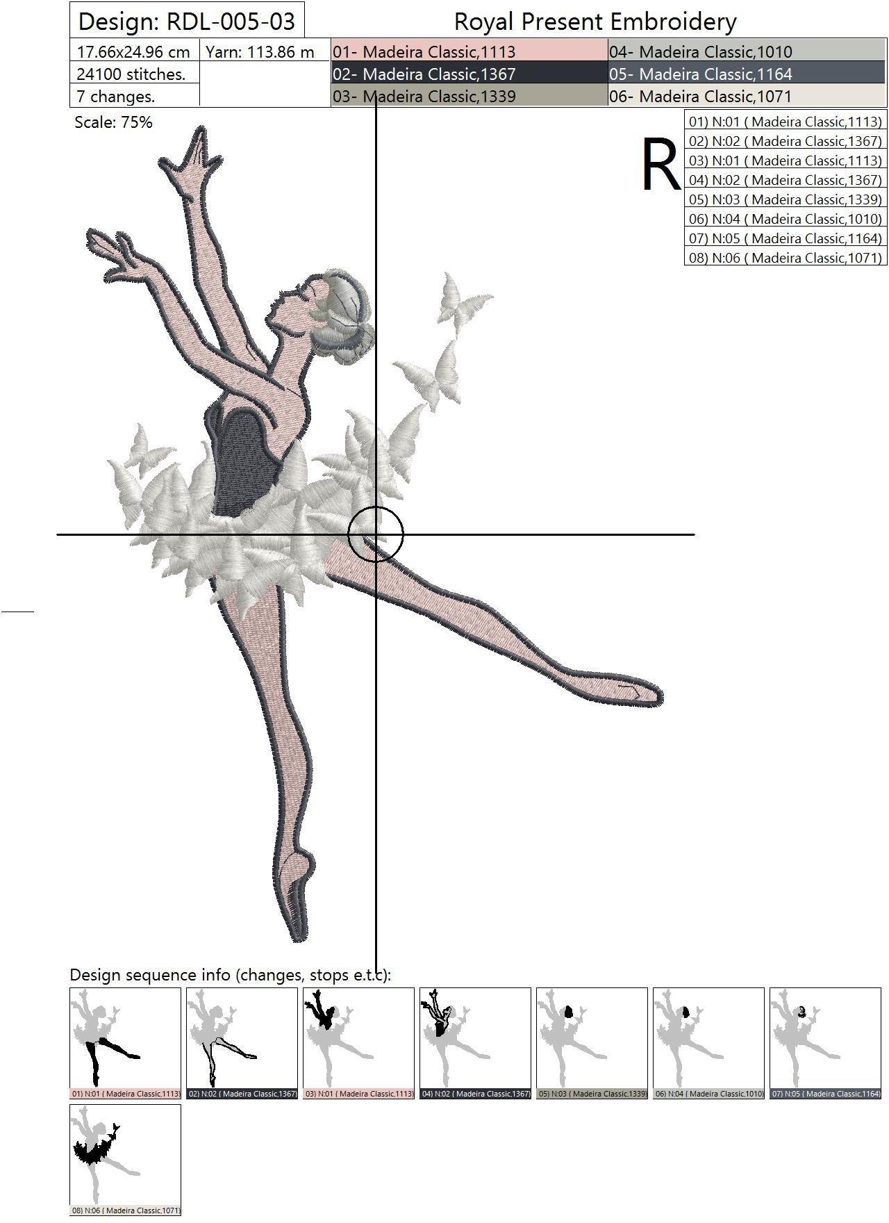 Дизайн машинной вышивки Балерина с бабочками - 3 размера