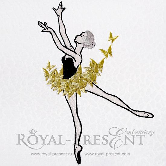 Дизайн машинной вышивки Балерина с бабочками - 3 размера RDL-005