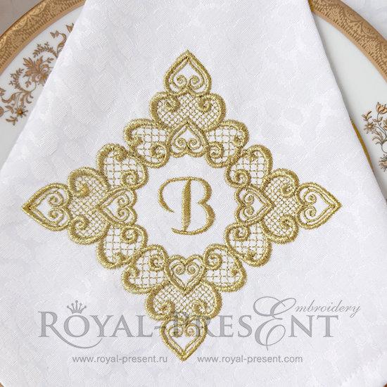 Дизайн машинной вышивки бесплатно Кружевной орнамент из сердечек RPE-070