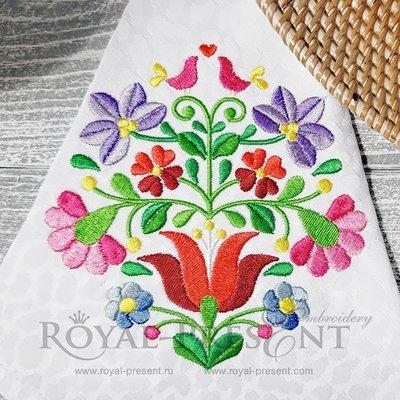 Дизайн машинной вышивки Венгерский цветочный узор Калоча - 2 размера