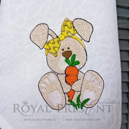 Дизайн машинной вышивки бесплатно Кролик с морковкой RPE-824-01