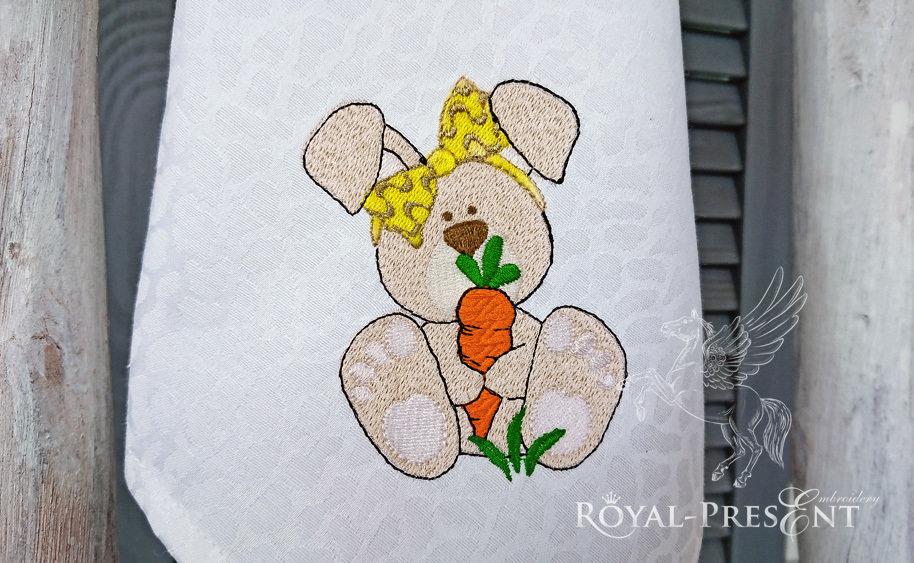 Дизайн машинной вышивки бесплатно Кролик с морковкой