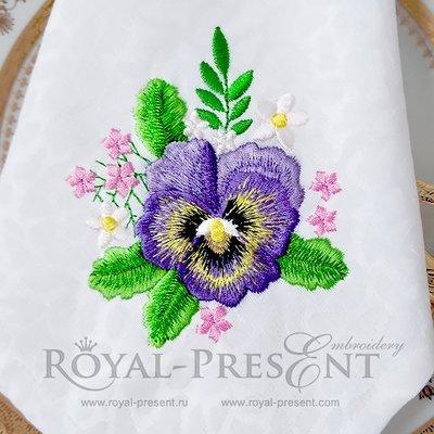 Дизайн машинной вышивки Букетик Анютины глазки и ромашки