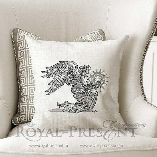 Дизайн машинной вышивки Рождественский Крылатый Ангел со звездой - 2 размера RPE-995