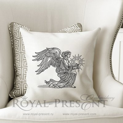 Дизайн машинной вышивки Рождественский Крылатый Ангел со звездой - 2 размера