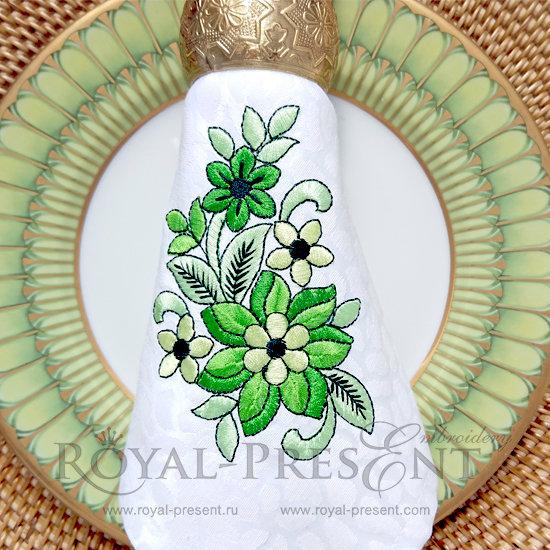 Дизайн для машинной вышивки бесплатно Весенняя зелень RPE-640