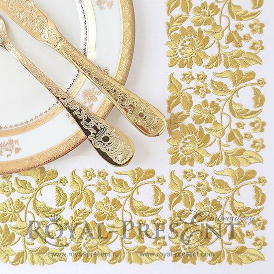 Дизайн машинной вышивки Цветочный декор для бордюра