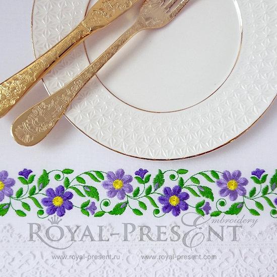 Дизайн машинной вышивки бесплатно Цветочный бордюр RPE-384