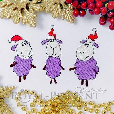Дизайн машинной вышивки Три Новогодние овечки