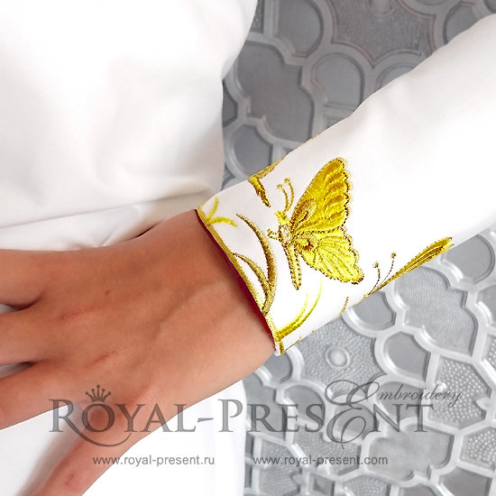 Дизайн машинной вышивки Орнамент из бабочек RPE-109