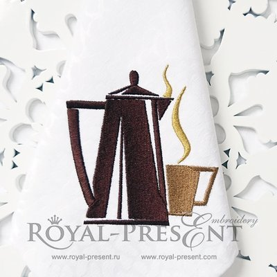 Дизайн машинной вышивки Кофейник с чашкой