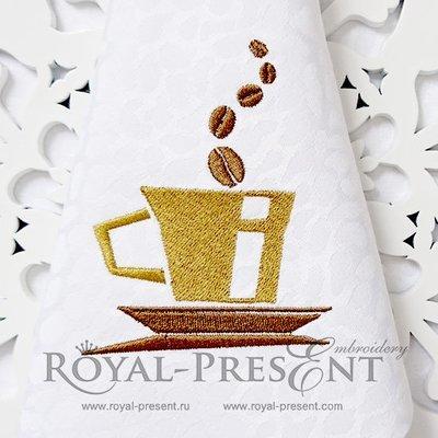 Дизайн машинной вышивки Кофейная чашечка