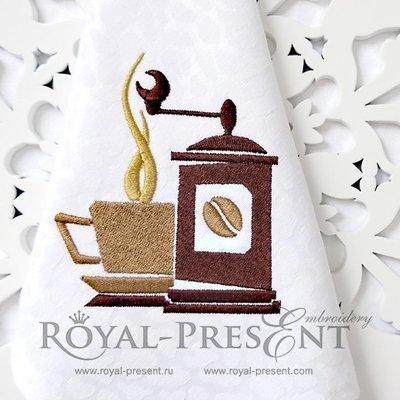 Дизайн машинной вышивки Кофемолка и чашечка