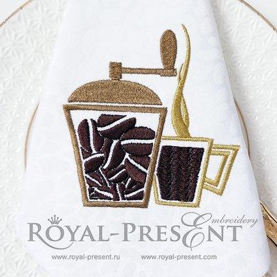 Дизайн машинной вышивки Кофемолка и чашка кофе