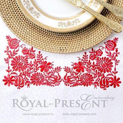 Дизайн машинной вышивки Венгерский красный узор - 2 размера