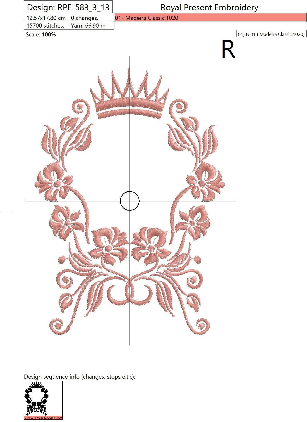 Дизайн машинной вышивки Цветочная грациозная рамка - 2 размера