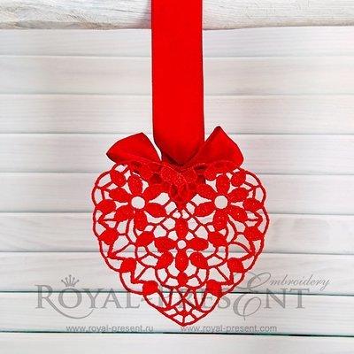 Дизайн машинной вышивки Ажурное сердце