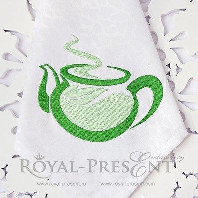 Дизайн машинной вышивки Чайник с чаем