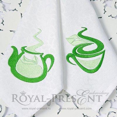 Дизайны машинной вышивки Чайник и чашечка с чаем