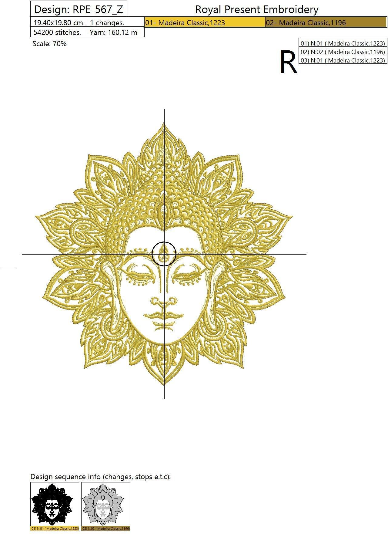 Дизайн машинной вышивки Будда и мандала - 2 размера
