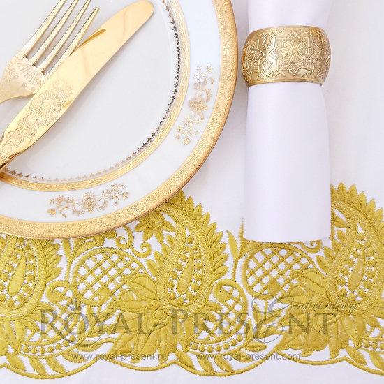 Дизайн машинной вышивки Золотой Восточный кружевной бордюр RPE-146