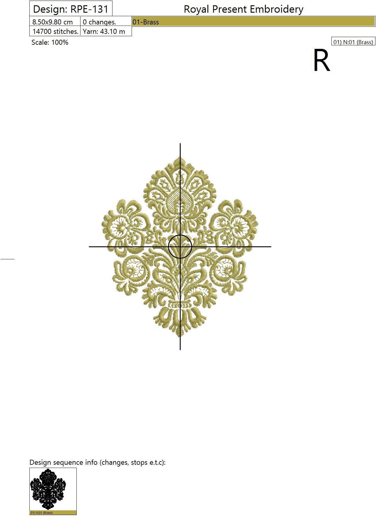 Дизайн машинной вышивки Вечная классика - 2 размера