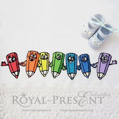 Дизайн машинной вышивки Цветные карандаши - 4 размера