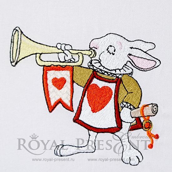 Дизайн для машинной вышивки Королевский Кролик трубач