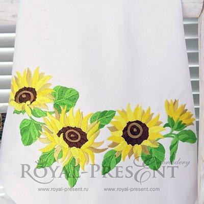 Дизайн машинной вышивки Подсолнухи гирлянда - 4 размера